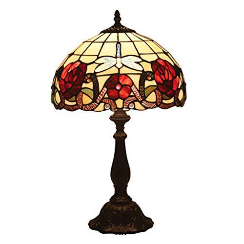 Tiffany Style bureaulamp, tafellamp, verlichting zijkant, vitrail dragonfly schaduw antiek vintage basis voor salontafel woonkamer slaapkamer