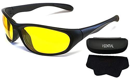 I-Sential Nachtsichtbrille Auto Fahren Matt Scharwz, Gelben Gläser Nachtsicht Brille Sonnenbrille + Fall und Tuch