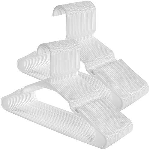 SONGMICS Perchas de Plástico, Paquete de 50, Muesca Ensanchadas, Forma Triangular Reforzada, 41,5 cm Blanco CRP03W-50