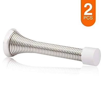 """KOVOSCH 2 Pack Spring Door Stops Brushed Satin Nickel- 3-1/4"""" Flexible Spring Door Stopper with White Rubber Bumper Tips"""