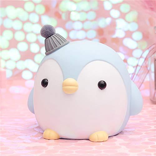 xiaomomo521 Kinder Spardose,Pinguin Sparschwein, Haben Sie Keine Angst, Das Sparschwein, Süße Ornamente, Wohnaccessoires Fallen Zu Lassen 15 * 16.2 * 14.3Cm Grauer Hut des Blauen Pinguins