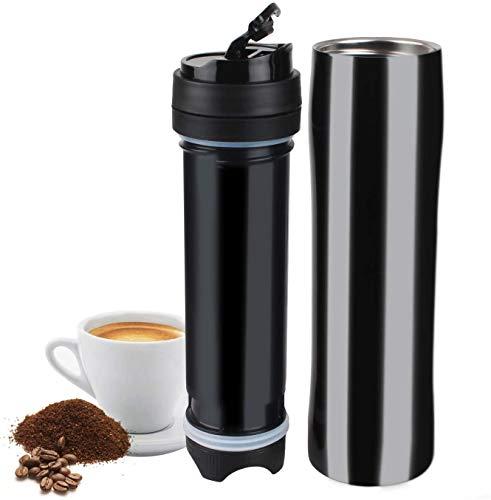 Caffettiera francese da 350 ml, tazza da viaggio isolata sottovuoto, caffettiera a tenuta stagna, pallone da caffè versatile, acciaio inossidabile nero (black)