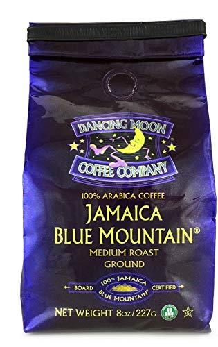 Dancing Moon, 100% Pure Jamaica Blue Mountain Ground Coffee - 8 oz Medium Roast