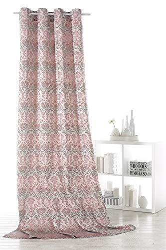 Fashion&Joy Ösenschal Gardine Vorhang Barock Ornamente Farbverlauf modern Blickdicht pink-grau HxB 245x140cm Dekoschal chic ÖKOTEX GESUND WOHNEN Typ359