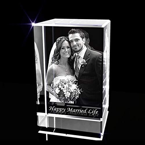 Personalizado aniversario 3D grabado cristal foto regalo (pequeño rectángulo)