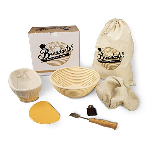 Breadastic | Quality is our Recipe | Banneton Bread Proofing Basket Set | 9 inch Round & 10 inch Oval, Sourdough Proofing Bowl Gift for Bakers, Bread Making Tools Includes Linen Liner, Dough Scraper, Scoring Lame, Blades & Organic Cotton Bag