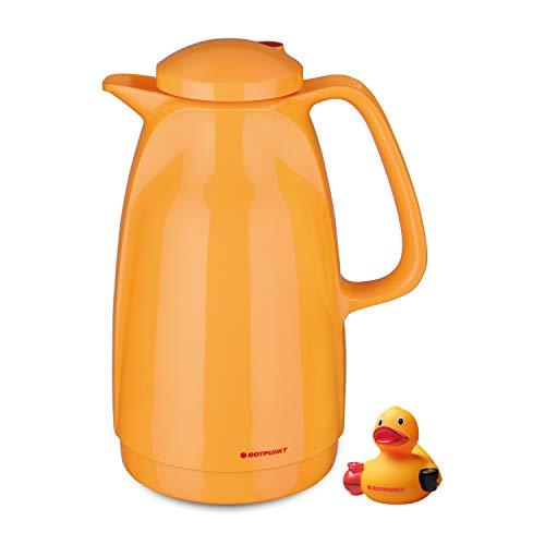 ROTPUNKT Isolierkanne 227 Bella 1,5 l | Zweifunktions-Drehverschluss | BPA-frei - gesundes Trinken | Made in Germany | Warm + Kalthaltung | Glaseinsatz (rubberduck)