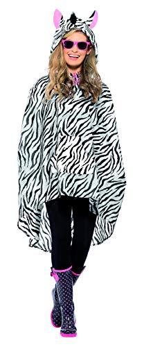 Smiffys Unisex Zebra Party Poncho, Poncho mit Zugbeutel, One Size, 43893