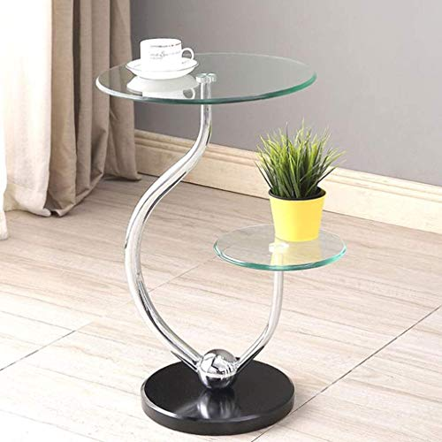 YVX End Side Sofa Table End Side Coffee Table,Tempered Glass Small Sofa Tea Table Storage Shelves,with Marble Base,2-Tier (Size : A)