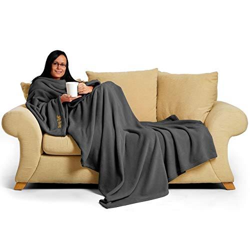 Snug Rug Couverture à manches en polaire luxueuse pour adulte Gris ardoise 214 x 152 x 1 cm