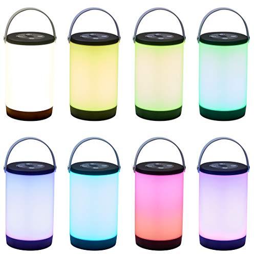 Northpoint Aufladbare LED Outdoor Lampe Laterne Tischlampe kabellos Nachttischlampe Tischleuchte mit Tragegriff Farbwechsel Warmweiß 3600mAh Akku