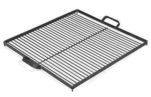 BlackOrange Quadratischer Grillrost 50 cm x 50 cm aus Stahl mit 4 Sicherungsnasen sowie 2 Haltegriffen, als Auflage für Feuerschalen oder Feuerkörbe mit einem Durchmesser Ø 70 cm