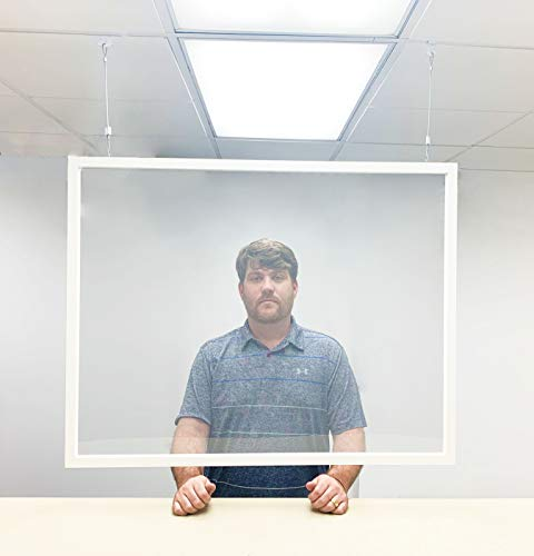 FAULKNER INC. Hanging Sneeze Guard for Counter | Plastic Shield | Plexiglass Acrylic Barrier for Receptionist, Food Station, Front Desk, Office | Cough Shield | Size 40.00 x 32.00 in.