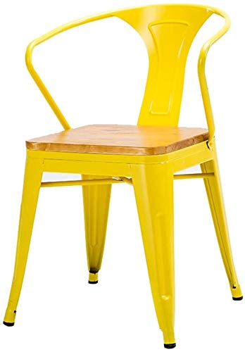 KANULAN Stabzählwerk Hocker Freizeit Sitz Retro Round Table Retro Barhocker Massivholz Hohe Hocker Küche Dining Chair Rückenlehne Hochstuhl (Color : Yellow)
