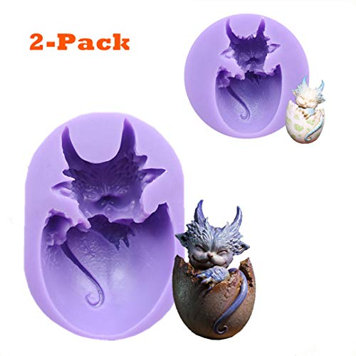 2 Pcs Dragon Fondant Silicone Cake Molds, Animals Dragon Eggs Mould Chocolate Candy Mold Sugar Craft Molds Cake Decorating tools by Runloo