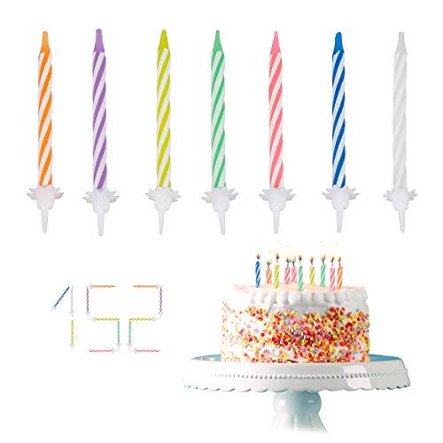 Relaxdays, bunt Geburtstagskerzen, 152-teiliges Kerzenset mit Haltern, Kuchenkerzen für Geburtstagsdeko, Partykerzen 6cm, Standard