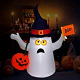 Minterest Inflables de Halloween, 150CM Halloween Ghost Pumpkin Inflable Europea Marca de Regulación Decoraciones Inflables de 5 Pies de Fantasmas Y Calabazas con Luces Led