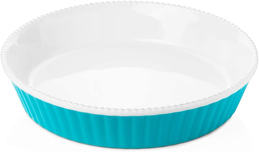 Krokori Ceramic Pie Dish Pie Plate Pie Pan Round Baking Dish for Cooking, Kitchen, Cake Dinner, Banquet and Daily Use - 9.8 Inches (Aquamarine)