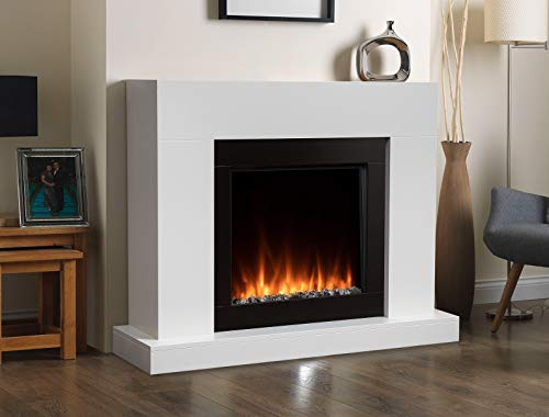 White Black Wall Mounted Surround Modern Electric Fire LED Fireplace Suite Flame Pebbles Crystals