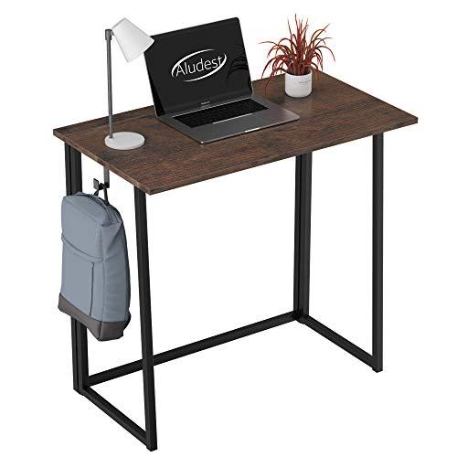 Escritorio plegable sin montaje pequeño escritorio para computadora – Escritorio plegable para oficina en el hogar, mesa de estudio, estación de trabajo para oficinas de espacio pequeño