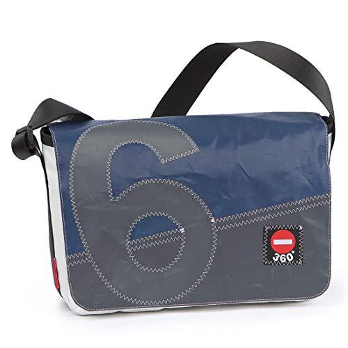360° Barkasse Mini Segeltuchtasche, Recycling Laptoptasche bis 13'' Zoll, Umhängetasche weiß blau, Balken Zahl grau, Messengerbag