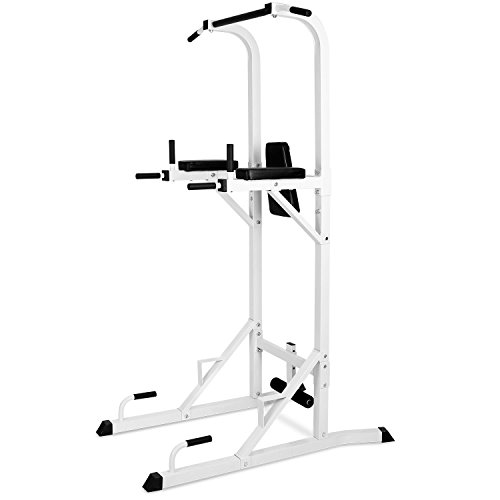 Klarfit FIT-KS04 Pull Up Station Crunches Dips Push Up Workout Pull Up Bar Push Up Grips Dip Grips Leg Supports for Sit Ups Included (Versatile with 6 Functions, 100kg Load Capacity, Sturdy) White
