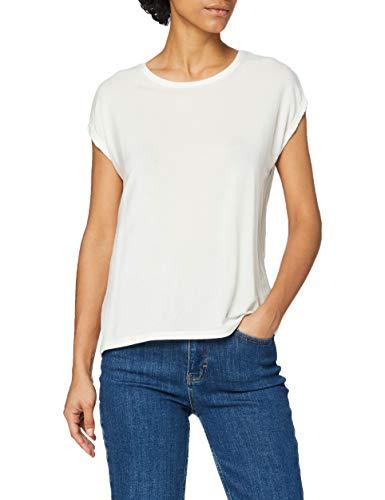 Vero Moda Vmava Plain Ss Top Ga Noos, Camiseta para Mujer, Blanco (Snow White Snow White), 36 (Talla del fabricante: Small)