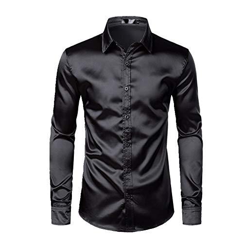 N\P Herren Schwarz Satin Luxus Kleid Hemden 2019 Seide Glatt Männer Smoking Hemd Slim Fit Hochzeit Party Prom Casual Shirt Gr. XXL, Schwarz