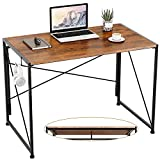 Engriy Folding Computer Desk, 40' Writing Study Desk for Home Office, Simple Industrial Style Wood Table Metal Frame for PC Laptop Notebook