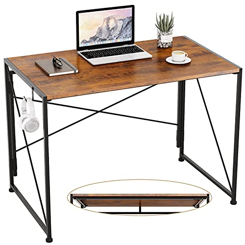 """Engriy Folding Computer Desk, 40"""" Writing Study Desk for Home Office, Simple Industrial Style Wood Table Metal Frame for PC Laptop Notebook"""