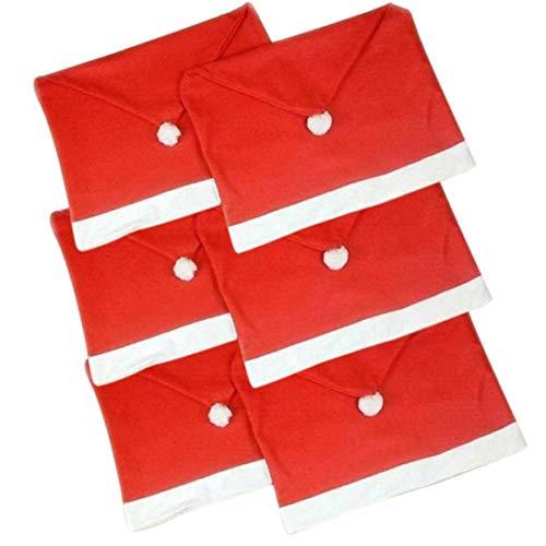 KoelrMsd Weihnachtsverzierung Rot Vlies Stoff Sitz Set Stuhlbezug Tisch Weiche und dauerhafte Dekoration Weihnachtsmütze Form