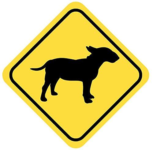 Samunshi® Bullterrier Warnschild Warndreieck Aufkleber Achtung Vorsicht Hund in 8 Größen (15x15cm Mehrfarbig)