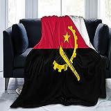 Flanelldecke mit Flagge von Angola, flauschig, bequem, warm, leicht, weich, Überwurf für Sofa, Couch, Schlafzimmer