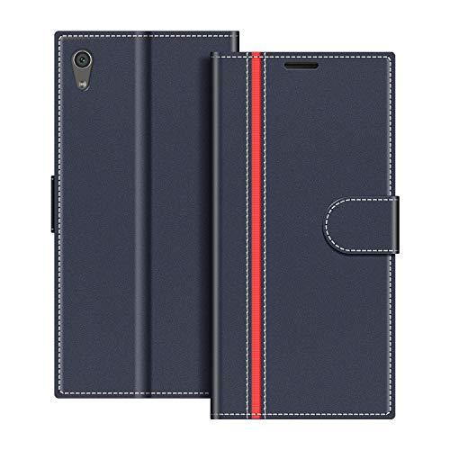 COODIO Handyhülle für Sony Xperia XA1 Ultra Handy Hülle, Sony Xperia XA1 Ultra Hülle Leder Handytasche für Sony Xperia XA1 Ultra Klapphülle Tasche, Dunkel Blau/Rot