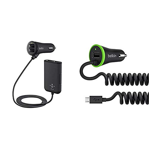 Belkin F8M935BT06 Road Rockstar Fast Charging Family Car Charger, Black & 3.4A Lightning In-Car Fast Phone Charger with Micro-USB Spiral Cable and Integrated USB Port - Black