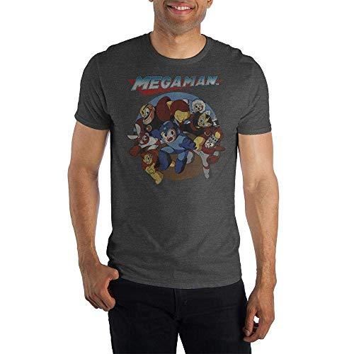 Capcom Megaman Characters Vintage Logo Men's Charcoal Grey Crew Neck Print T-Shirt T-Shirts & Hemden(XX-Large)