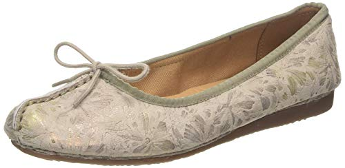 Clarks Damen Freckle Ice Geschlossene Ballerinas, Grau (Taupe Leather Taupe Leather), 38 EU