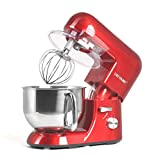 CHEFTRONIC Stand Mixer Tilt-head mixers SM-986 120V/650W 5.5qt Stainless Steel Mixing Bowl 6 Speed Kitchen Electric Mixer come with flex edge beater flat beater dough hook wire whip and splash guard