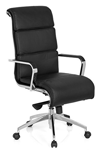 hjh OFFICE 660937 XXL Chefsessel GALESA Echt-Leder Schwarz Bürostuhl mit hoher Rückenlehne, gepolstert