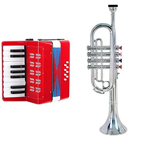 Classic Cantabile Bambino Rosso Kinder Akkordeon, Rot (ab 3 Jahre, 17 Noten Tasten, 8 Bässe, einstellbare Schulter-Trageriemen) & Bontempi 32 4231 Trompete mit 4 farbigen Tasten/Noten, Silber