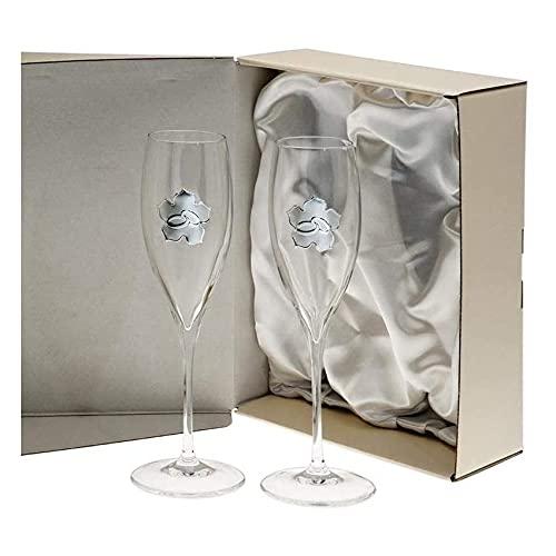 El Faro Copas champan Personalizadas Bodas o Aniversarios Cristal Trébol (Bodas o Aniversarios)
