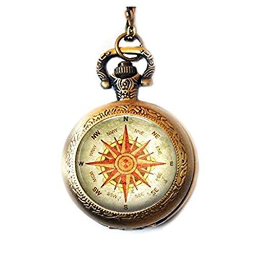 Reloj de bolsillo para viajero, con brújula, regalo para su brújula, regalo para el norte, sureste oeste.