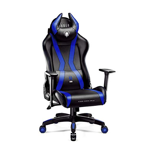 Diablo X-Horn Gamestoel Gaming Stoel Bureaustoel 3D Armleuningen Ergonomisch Ontwerp Lumbaal/Nekkussen Imitatieleer (Normaal, Blauw)