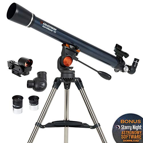 Celestron - AstroMaster 70AZ Telescope - Refractor Telescope - Fully Coated Glass Optics - Adjustable Height Tripod  BONUS Astronomy Software Package