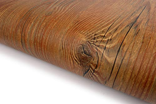 Wood Pattern Texture Interior Film Vinyl Self Adhesive Peel-Stick Removable (VBS876(Antique Pine))