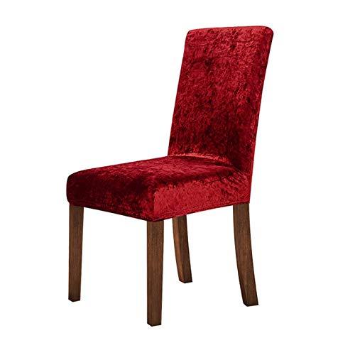 Lan Chen New Crushed Velvet Dining Chair Abdeckung Spandex Elastic Stuhlbezug Esszimmer-Stuhl-Fall for Küche Hochzeitsbankett (Farbe : Burgundy, Size : 2pcs)
