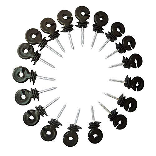 Cukol 20 stück Isolatoren Weidezaun, Weidezaun Isolatoren Ringisolatoren mit Gewinde für Isolatoren Weidezaun Ecke Ecken zur Befestigung von Weidezaunlitze, Electric Fence Insulators(Schwarz)
