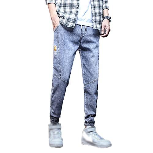 WJANYHN Pantalones Vaqueros para Hombre, Delgado, Gris Ahumado, con Lazo, Cintura elástica, Pantalones de harén Sueltos para Hombre