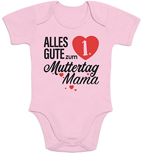 Shirtgeil Muttertagsgeschenk - Alles Gute zum 1. Muttertag Mama Baby Body Kurzarm-Body - 6-12M - Rosa