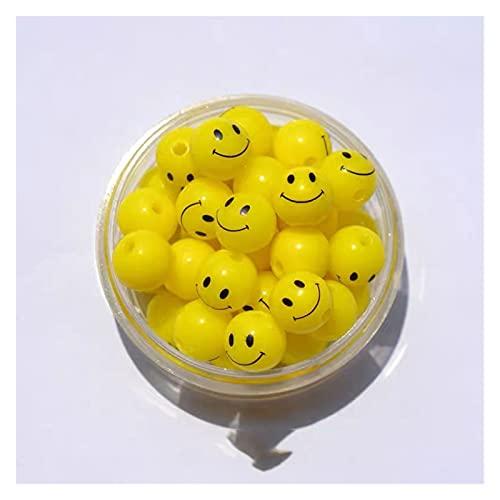 HUMINGG Perline faccinati 100 pz 10-20mm Sorriso Face Rounds Forma Resina Smiley Perline Fai da Te Orecchino Donna Gioielli/Braccialetto/Collana Che Fa Accessori